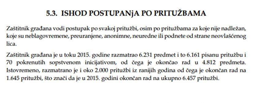 Godišnji izveštaj Zaštitnika građana za 2015. godinu