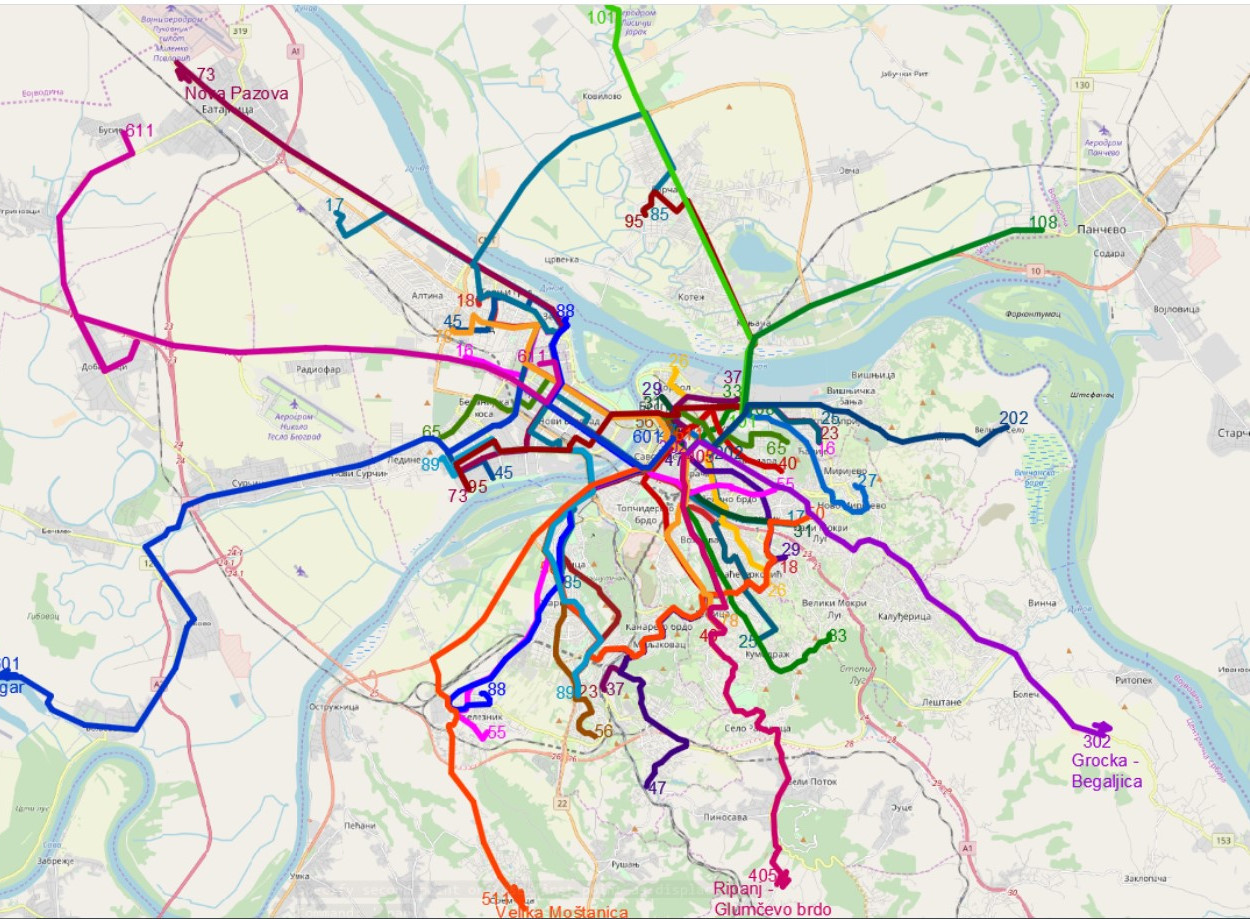 Mapa linija u Beogradu